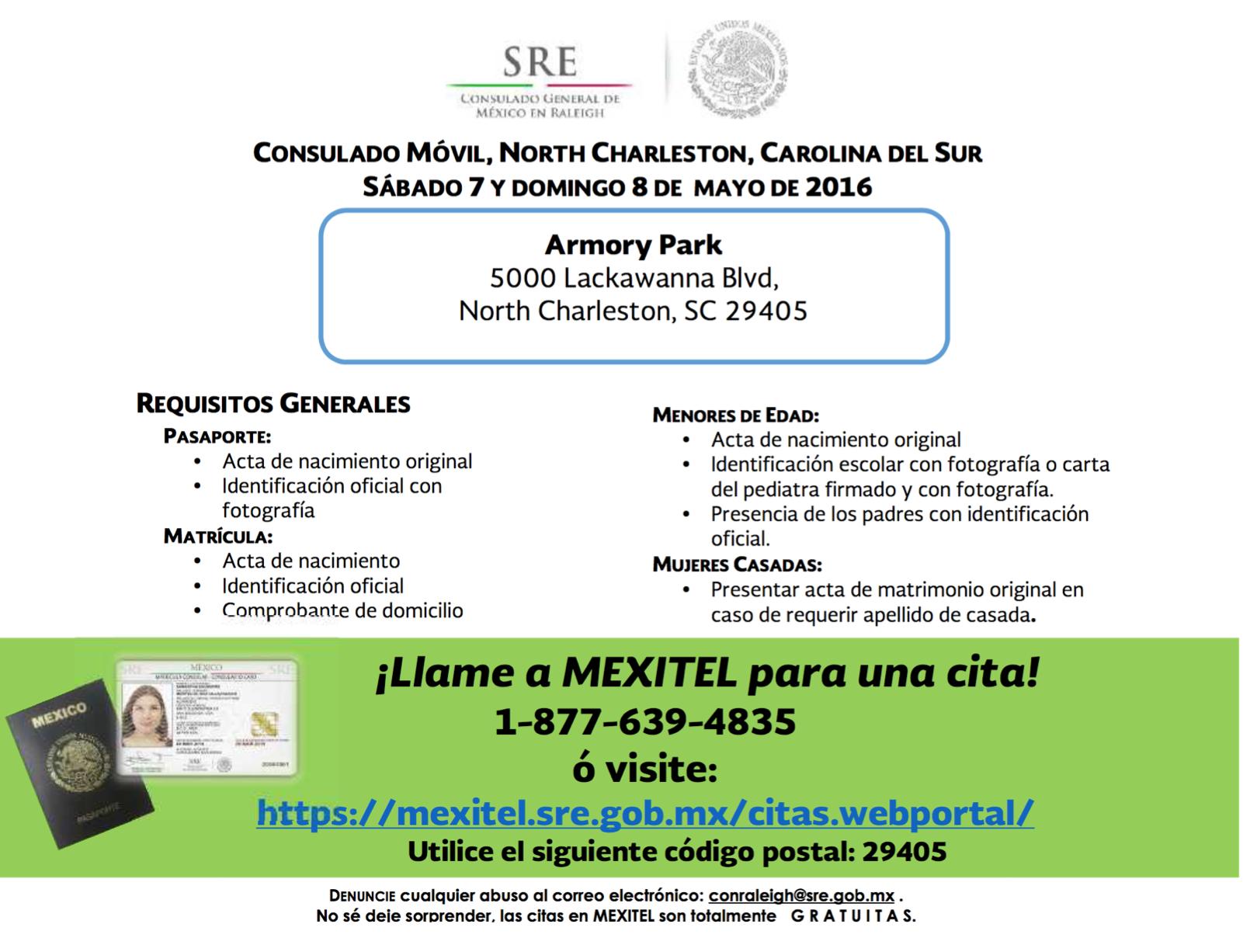 Consulado Móvil Mexicano llegará a North Charleston 7 y 8 de